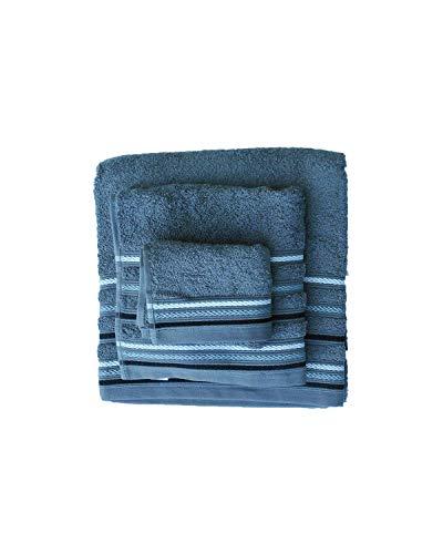 Juego Toallas 3 Piezas. 100% algodón 520 gr/m2. Mod. Paraiso. (Gris Antracita)