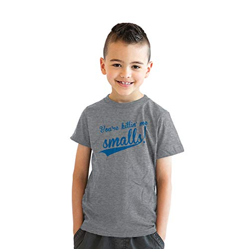 Youth Youre Killing Me Smalls T Shirt Funny Vintage Baseball Graphic Tee Kids (Light Heather Grey) - XL