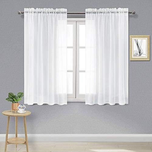 DWCN White Sheer Curtains Semi Transparent Voile Rod Pocket Curtains for Bedroom and Living Room, 52 x 54 inches Long, Set of 2 Panels