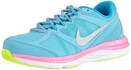 Nike Dual Fusion Run 3 GS, Mädchen Laufschuhe, Türkis (Clearwater/Metallic Silver-Volt-Pink Power 401), 38 EU (5 Kinder UK)