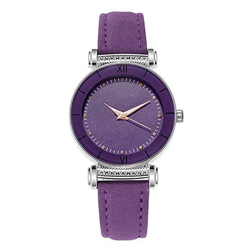 JZDH Relojes para Mujer Reloj de Moda Mujer de Cuero de Mujer Relojes de muñeca de Cristal Reloj Pink Black Small Watch Relojes Decorativos Casuales para Niñas Damas (Color : Multicolor)