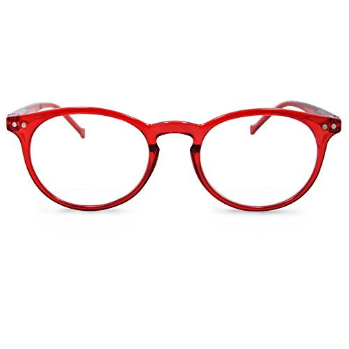 In Style Eyes Flexible Readers, Classic Round Lightweight Frames, Red, 3.0x
