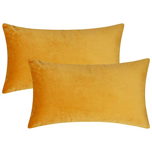 Artcest Set of 2 Cozy Velvet Decorative Rectangular Throw Pillow Cases, Soft Solid Lumbar Cushion Covers for Sofa Couch and Bed, 12' x20 (Mustard Yellow)