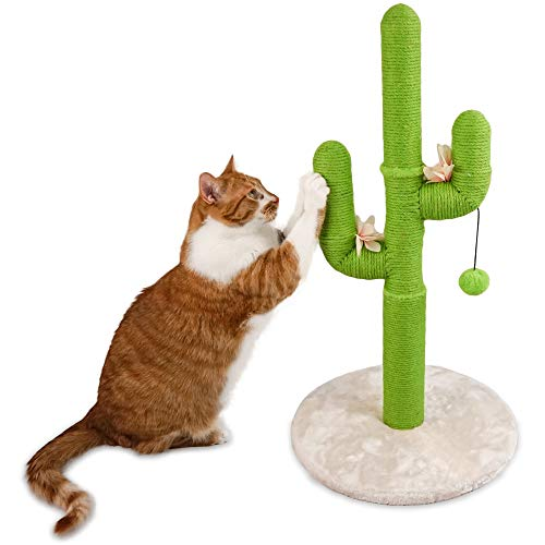 Cat Cactus Scratching Post with Ball - Save Your Furniture with Durable Handmade Jute Cat Tree