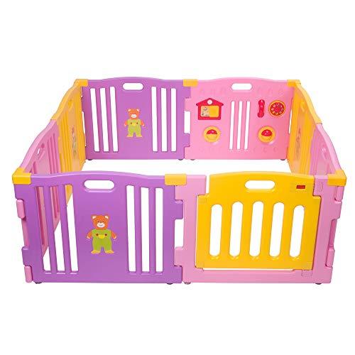 Mcc Box Bambini Recinto Bimbo in plastica con 8 pannelli, Barriera Protettiva con Cancelletto (Colore Rosa)