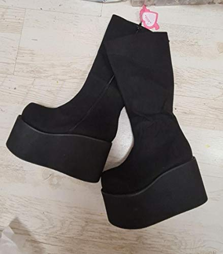 XWHKX Mädchen Damenstiefel Damen Lolita High Boots Plateauschuhe-Herde 10cm Keile_11