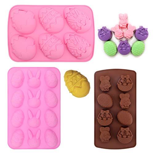 3 pezzi Stampo in silicone di Pasqua, Pasqua silicone Chocolate Candy stampi Forma di Uovo Stampi in Silicone strumenti per la decorazione di torte fai da te pasquali per cubetti di ghiaccio