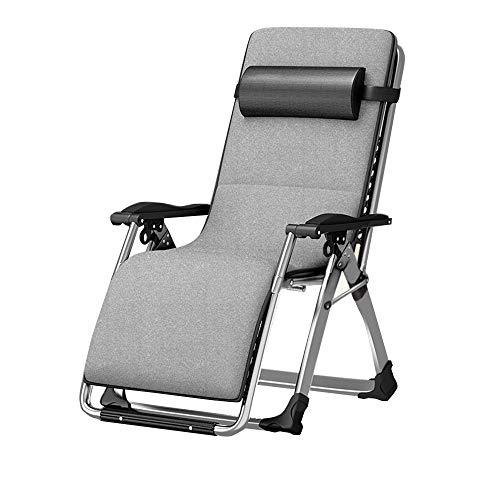 LVZAIXI Chaise Longue Zero Gravity Chaise Jardin Extérieur Parc Patio Chaises Longues Pliante Inclinable Fauteuils (Couleur : Gray)