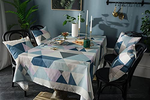 Agoble Manteles Antimanchas Exterior, Manteles Antimanchas Poliéster 140X200cm Azul Triángulo Geométrico