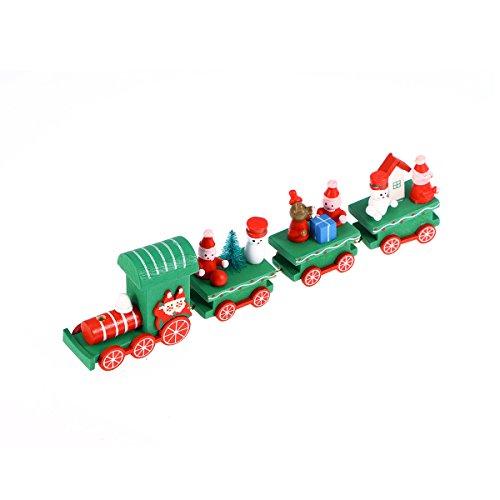 Treno Natale Legno OULII Mini Trenino Con Pupazzo Di Neve Albero Di 4 Carrozze Per Regali E Decorazioni Natalizi (Verde)