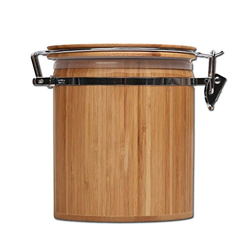 Bamboo Canister, Bamboo Jar, Bamboo Food Storage Jar Canister with Lid,Bamboo Salt Box, Bamboo Storage Box, Canister Set Coffee Pot Eco-Friendly (M, 1PC)