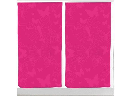 Soleil d'ocre Coppia di tendine a vetro PAPILLON in poliestere rosa fucsia 60 x 120 cm