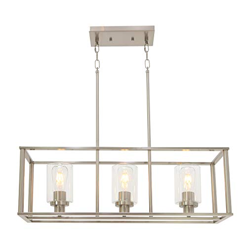 3 Light VINLUZ Modern Pendant Lighting for Kitchen Island,Industrial Dinging Room Chandelier Light Fixture Hanging with Brushed Nickel Finish with Clear Glass