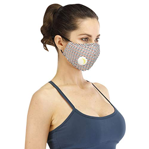 Save %43 Now! Cotton Face Bandana with Breathing Valve for Running, Traveling, Cycling Washable Reus...