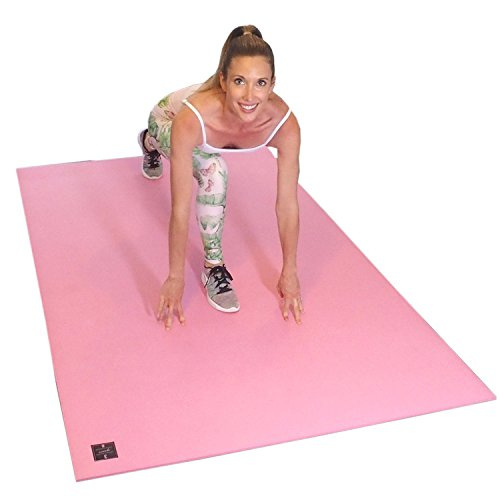 Square36 Large Exercise Mat 6.5 Ft x 4 Ft. Ideal for Home Cardio Workouts with Or Without Shoes. Roll Out in Living Room & Roll Up to Store Large Fitness Mat. Black