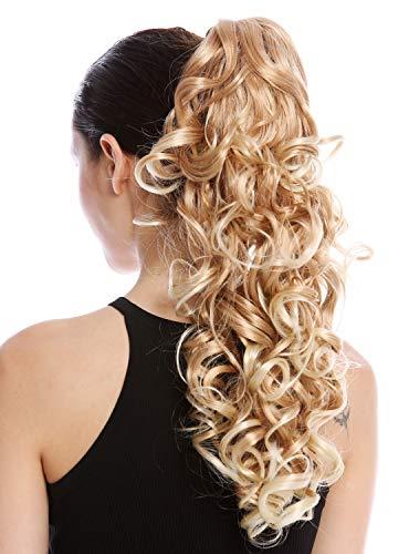 WIG ME UP - N956-V-27CT613 Postiche couette queue de cheval boucles bouclé volumineux peignes long 50 cm mèches blond fraise platine