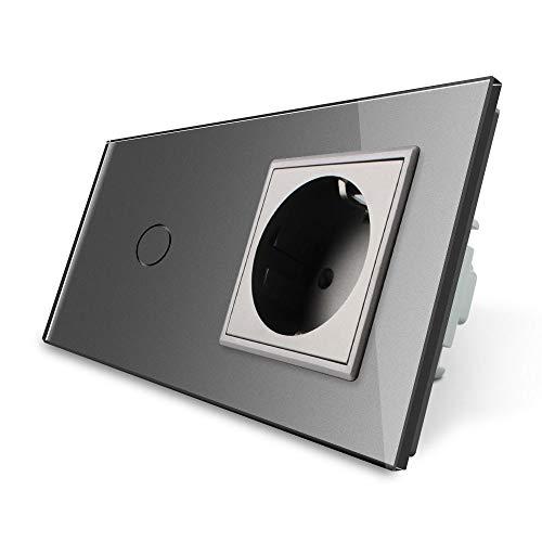 Lichtschalter/Steckdose Touchscreen, Glas Touchscreen Grau Livolo
