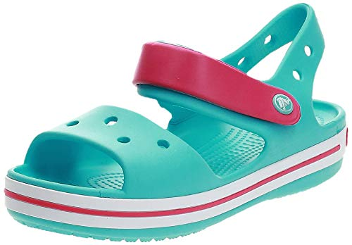 Crocs Crocband Sandal Kids, Sandalias Unisex Niños, Azul (Pool/Candy Pink 4FV), 23/24 EU