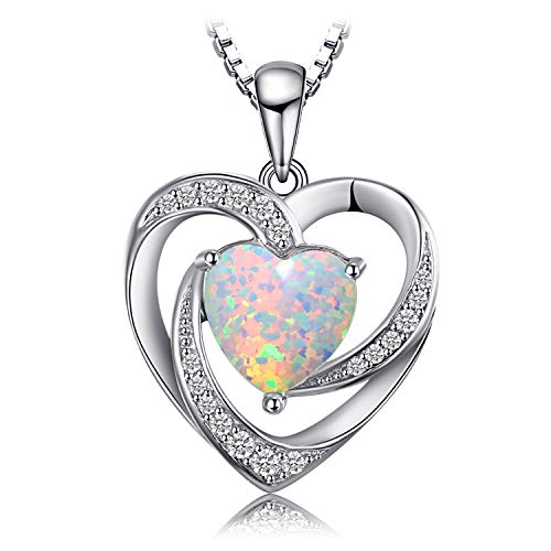 JewelryPalace Love Heart 2.54ct Created Opal Pendant Necklace 925 Sterling Silver