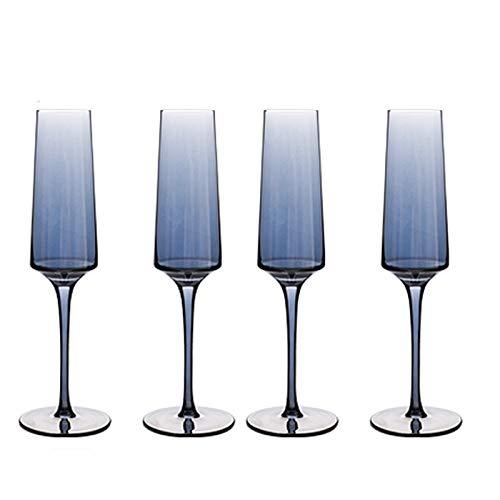 DONGTAISHANGCHENG Cuatro Flautas de Cristal Azul de Champagne, 9.84 Pulgadas de Tallo...
