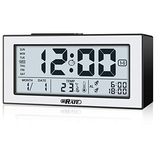 SH.RATE Digitaler Wecker, Wecker Digitaluhr, einzigartiger Nachtsichtbildschirm, Tischuhr Alarm Clock mit großer Bildschirmanzeige, 2 Alarmen und Lautstärke Regelbar, 3 Alarmgruppen reisewecker