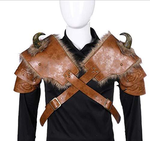 HIOPIACO Viking Armour Costume d'halloween Cosplay en Cuir PU Adulte Hommes Médiéval Viking Armorparty Costume Accessoires - Une Taille,C