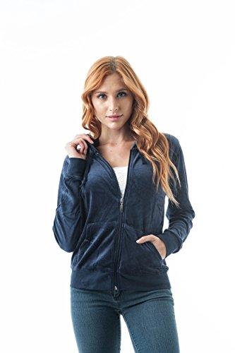 Aksamitny welur długi rękaw sznurek bluza z kapturem przednie kieszenie sweter kurtka