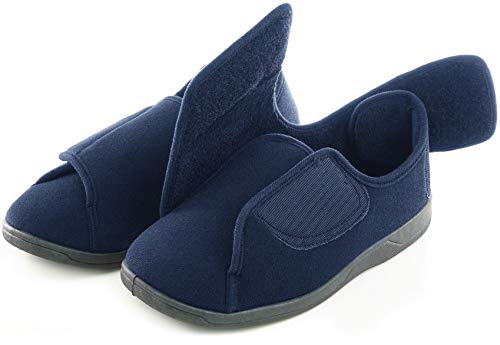 EuropeanSoftest Men's 80-D Memory Foam Diabetic Slippers On Slipper Breathable Washable Indoor/Outdoor House Shoe w/Anti Slip Sole (Large 11-12 B(M) US Men, Navy Blue)