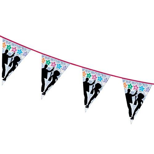 NET TOYS Guirlande à thème Disco - 6 m | Drapeaux décoratifs des années 70 | Festons Disco Feeling | Articles décoratifs Saturday Night Fever