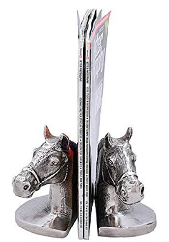 Casa Padrino Conjunto de sujetalibro Cabezas de Caballo Plata/Negro 17 x 9 x H. 14 cm - Accesorios