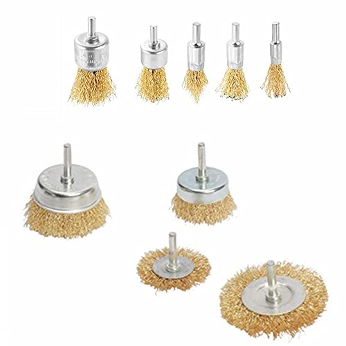 9 Pack Brass Coated Wire Brush Wheel & Cup Brush Set with 1/4 Inch Shank...