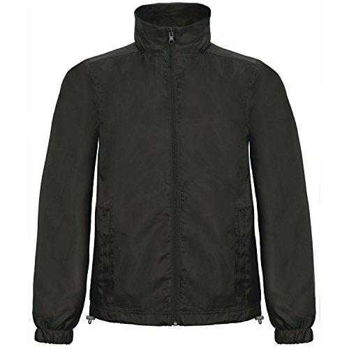 B&C Herren ID.601 Jacke mit Kapuze, Wind und Wasser abweisend (3XLarge) (Schwarz)