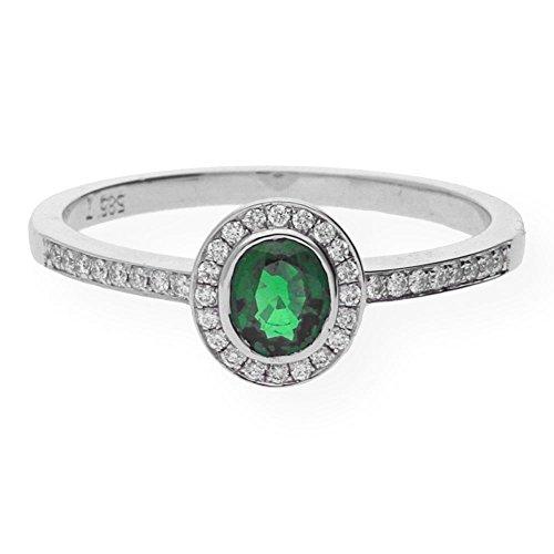 JuwelmaLux ring witgoud 585/000 met smaragd en briljanten 0,10 ct. JL10-07-0078 maat 54