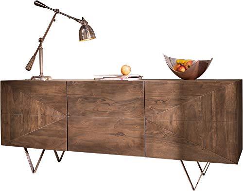 DELIFE Designer-Sideboard Wyatt 175 cm Akazie Braun Edelstahl