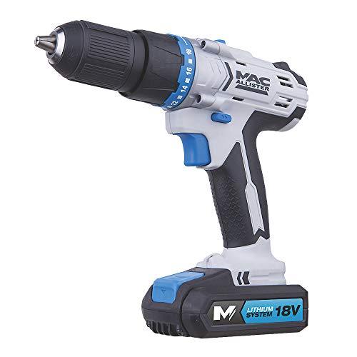Mac Allister 18V 1.5Ah Li-ion Cordless Combi Drill 1 Battery MSCD18-Li-2