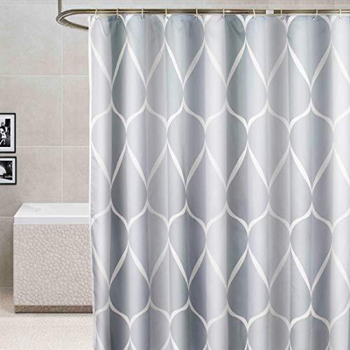 Duschvorhang waschbar Vorhang Digitaldruck inkl. Vorhangringe Anti Schimmel Welle Zick Zack Motiv Badezimmer Badewanne (240 x 200cm BxH #8)