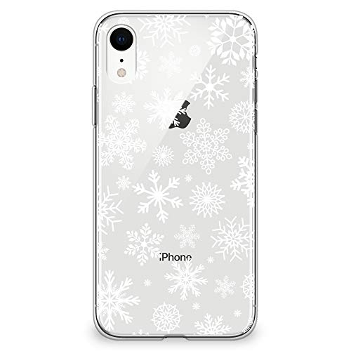 "CasesByLorraine Compatible with iPhone XR Case, Christmas Snowflakes Xmas Holiday Clear Transparent Flexible TPU Soft Gel Protective Cover for iPhone XR 6.1"" (2018)"