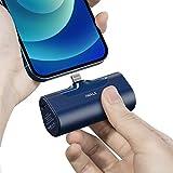 iWALK 超小型 モバイルバッテリー iphone 4500mAh Lightning コネクター内蔵 コードレス 軽量 直接充電 急速充電 iPhone 12/12 mini/Pro/Pro Max/SE2/11/XS/XR/X/8 充電対応 PSE認証済 (iPhone 用, ブルー)