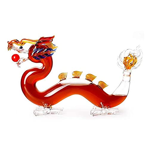 Raheem Whisky Decanter Set Dragon Whisky and Wine Decanter (Sostiene 1000ml) Whiskey Set Decanter Halloween (Color : White)