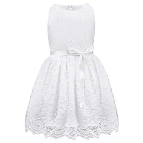 TiaoBug Baby Mädchen Kleid Blumenspitze Prinzessin Sommer Kleidung 80 86 92 98 104 110 128 134 140 Weiß 92