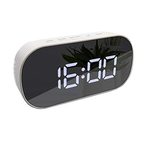Reloj De Cabecera Reloj LED Despertadores Digitales Mesita De Noche Espejo Creativo Multifunción Forma De Elipse Alarma LED Espejo Cosmético Despertador para Dormitorio Oficina B