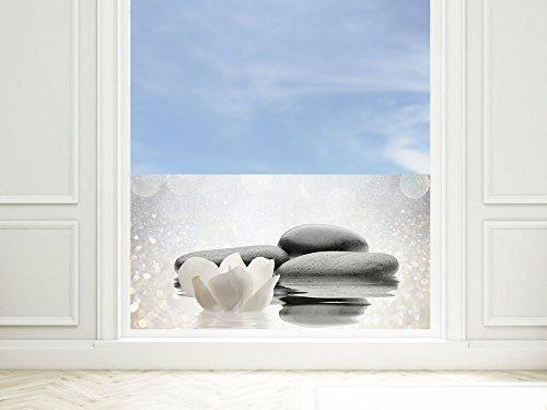 GRAZDesign Fensterschutzfolie Wellness, Blickdichte Fensterfolie Steine, Sichtschutzfolie Grau, Fensterfolie Badezimmer / 80x57cm