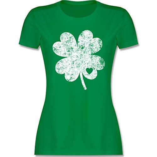 St. Patricks Day - Vintage Kleeblatt mit Herz - XXL - Grün - st Patricks Day Damen Shirt - L191 - Tailliertes Tshirt für Damen und Frauen T-Shirt