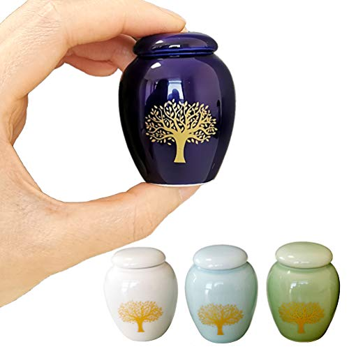 Mini Cremation Urns for Human Ashes Set of 4 - Tree of Life Small Keepsake Urns - Ceramic Adult Dog Cat Ashes Holders Miniature Memorial Funeral Urn for Sharing Ashes