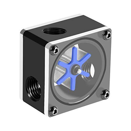Richer-R G1/4 CPU Wasserkühlungs Durchflussmesser, 6 Laufrad Gewinde G1/4 Wasserkühl Durchflussmesseranzeige,Geeignet für PC-Wasserkühlung