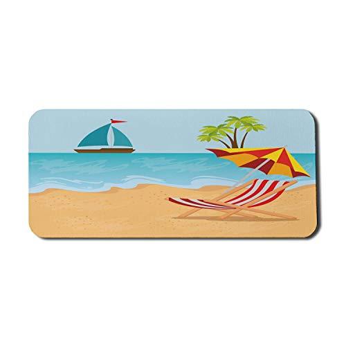Graphic Beach Computer Mouse Pad, Sommer-Freizeitszene am Coast Ocean Sailboat Sonnenschirm und Stuhl Cartoon-Stil, Rechteck rutschfeste Gummi Mousepad X-Large Gaming-Größe, mehrfarbig