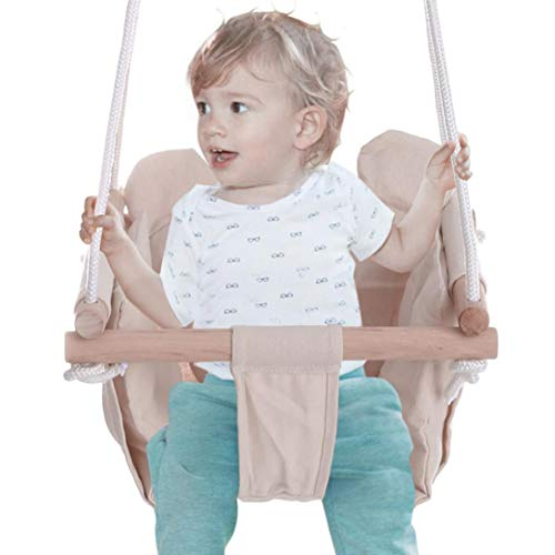 Qisanba Hanging Swing Seat for Baby Kids Toddler Infant - with Removable Cushion - Wooden Frame Indoor and Outdoor Hammock, Tree Swings or Backyard Outside Chair Set