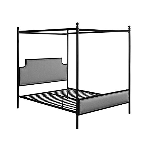Christopher Knight Home Asa Queen Size Iron Canopy Bed Frame with Upholstered Studded Headboard, Gray and Flat Black