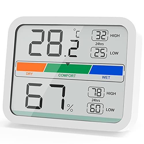 LIORQUE Termometro Ambiente Igrometro Digitale Interno Misuratore di umidità e Temperatura, Record di Valore Massimo e Minimo per Casa e Ufficio (Batteria Inclusa)