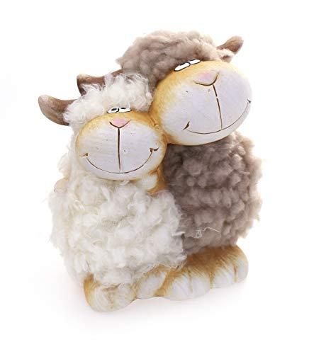 Deko Figur Schäfchen Schaf Pärchen 15 cm, Ton beige Kunstfell weiß taupe, Schafe Lämmchen Wollschaf Dekofigur verliebte Schafe Frühling Sommer